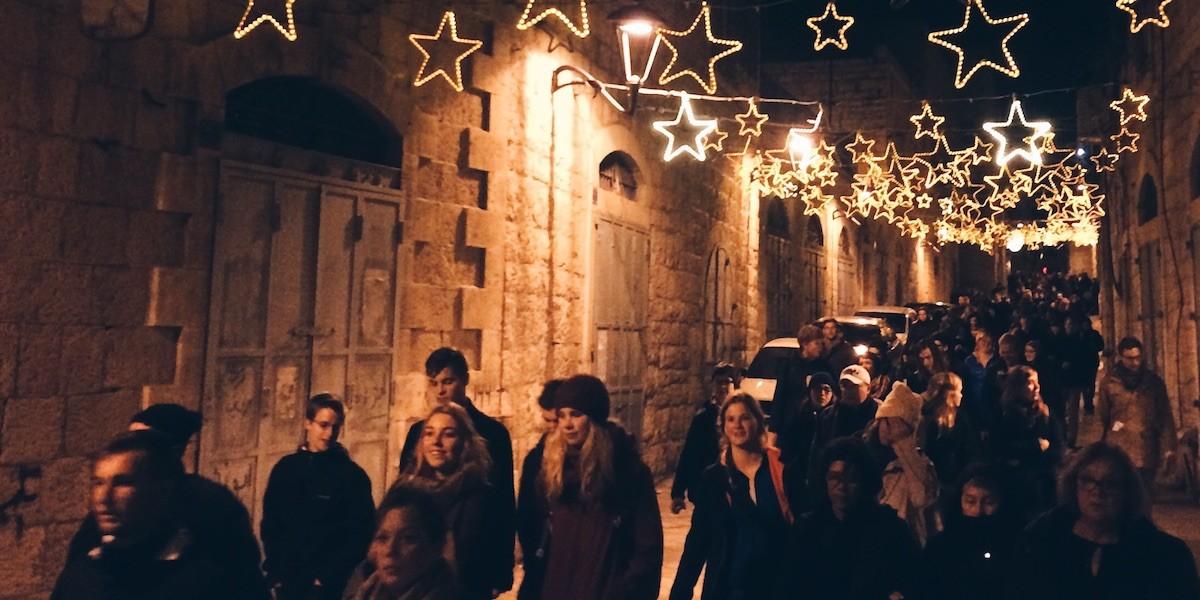 Weihnachten Pilger in Bethlehem